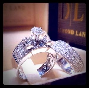 2 PC Sterling Silver Cubic Zirconia Ring